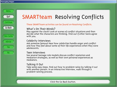 Activities available on Resolving Conflicts.